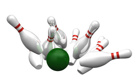 bowling sport: bowling pins and ball on white background - 3d illustration