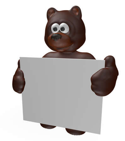 bear and blank sign - 3d cartoon illustration illustration
