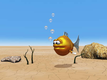 funny goldfish and bubbles - 3d illustration illustration