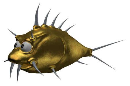 pez globo: de oro extraño espinas de pescado de dibujos animados - 3d ilustración