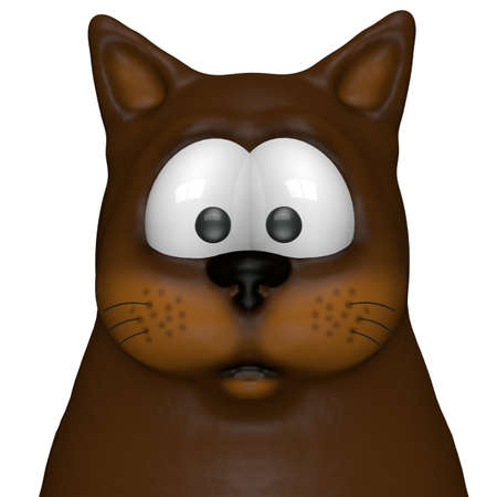 funny cartoon cat - 3d illustration illustration
