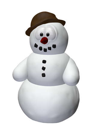 funny snowman - 3d cartoon illustration  illustration