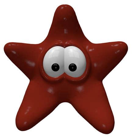 funny: funny starfish - 3d cartoon illustration