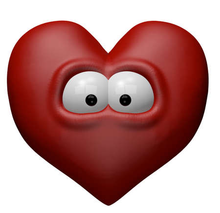 red heart with eyes - 3d cartoon illustration Stock Illustration - 11998565