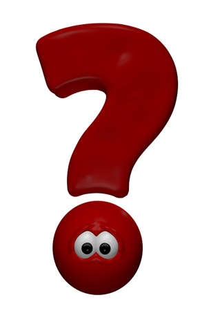 red question mark with eyes - 3d cartoon illustration