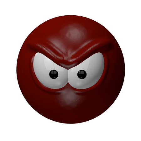 angry cartoon: evil red smiley - 3d illustration
