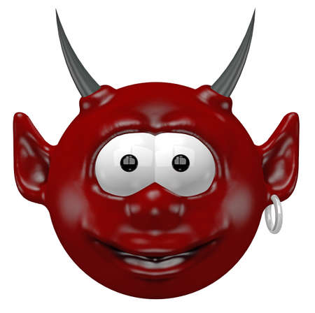 cute devil head - 3d cartoon illustration illustration