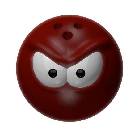 evil bowling ball - 3d cartoon illustration illustration