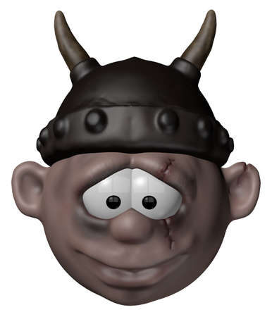 viking character with helmet - 3d cartoon illustration illustration