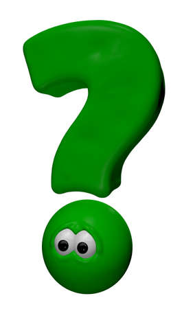 symbol  punctuation: green question mark with eyes - 3d cartoon illustration Stock Photo