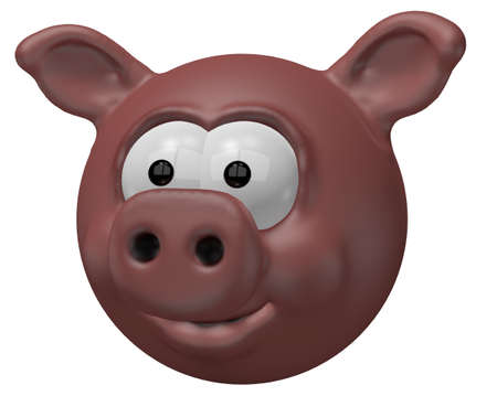 happy pig head - 3d cartoon illustration illustration
