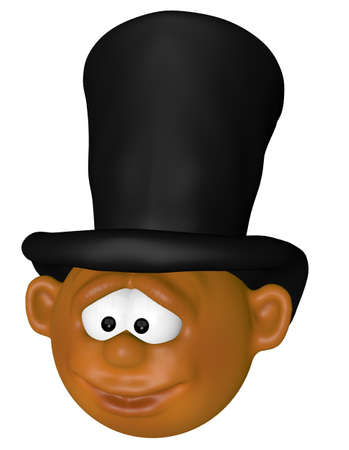 cartoon character with top hat - 3d illustration illustration