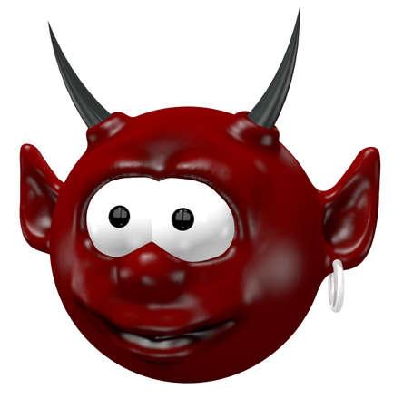 diabolical: cute devil head - 3d cartoon illustration Stock Photo