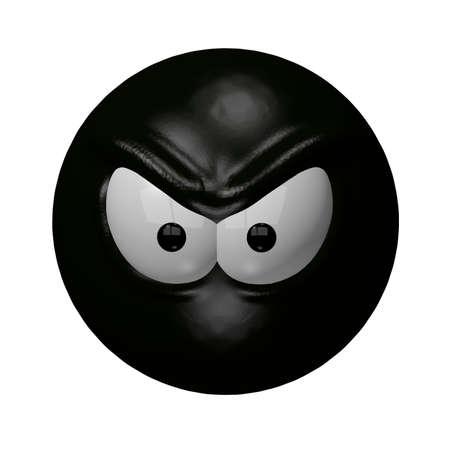 feeling bad: evil black smiley - 3d illustration Stock Photo