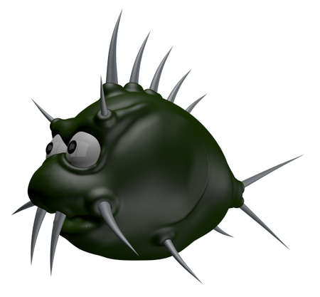 pez globo: espinas de pescado de dibujos animados extraña - 3d ilustración Foto de archivo