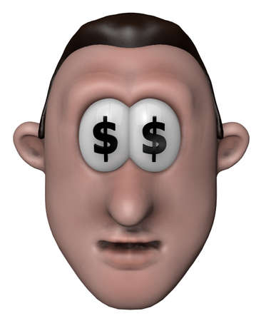 man with dollar symbols in his eyes - 3d illustration Stock Illustration - 12157038