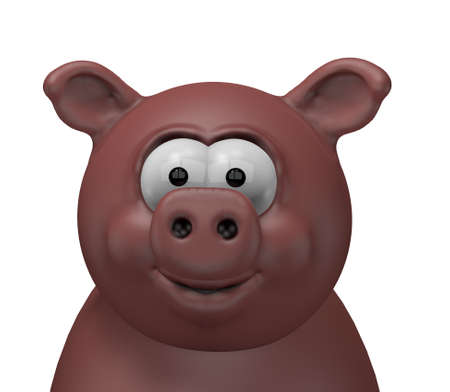 pig roast: happy swine head - 3d cartoon illustration