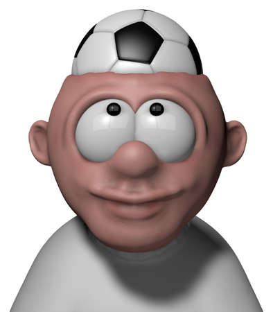 lucky man: man with soccer ball in his head - 3d illustration
