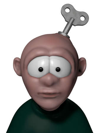 robotic transmission: cartoon character with key to wind up on his head - 3d illustration