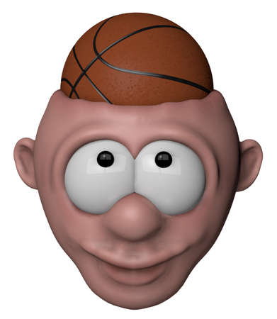 man with basketball in his head - 3d illustration illustration