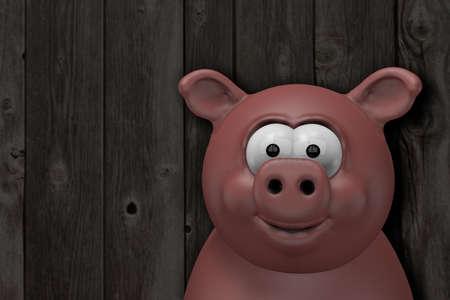 roast pork: happy pig  in front of old wooden wall - 3d cartoon illustration