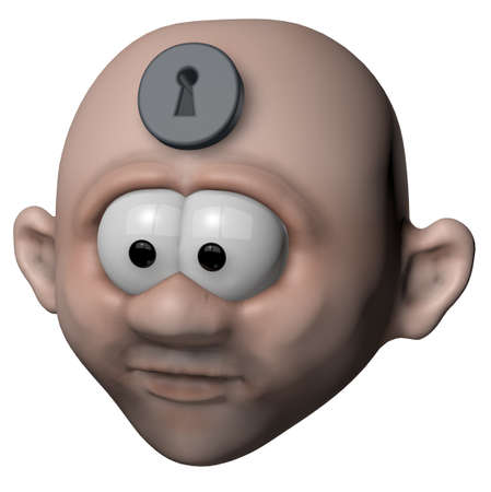 man with keyhole in his forehead - 3d illustration illustration