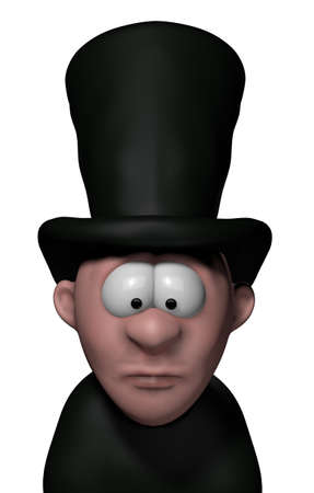 cartoon undertaker with big black hat - 3d illustration illustration