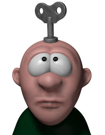 cartoon character with key to wind up on his head - 3d illustration illustration