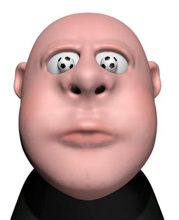 man with soccer balls in his eyes - 3d illustration illustration
