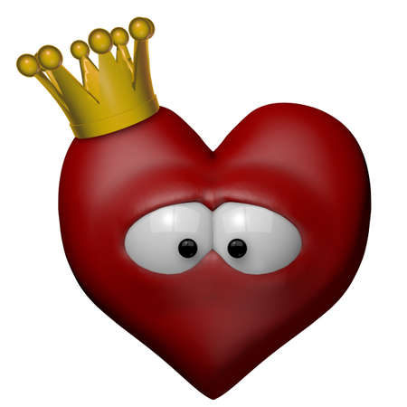 pangs: red heart with golden crown - 3d illustration