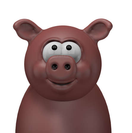happy swine head - 3d cartoon illustration