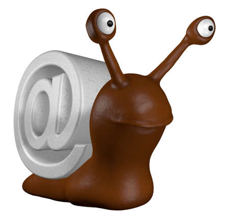 funny slug with email alias - 3d cartoon illustration illustration
