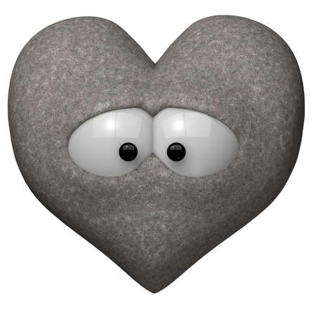rueful: heart of stone with eyes - 3d illustration Stock Photo