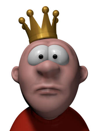 the majesty: man with crown on his head - 3d illustration