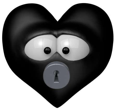 black heart with keyhole - 3d cartoon illustration
