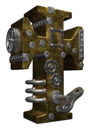 dieselpunk: christian cross in steampunk look - 3d illustration
