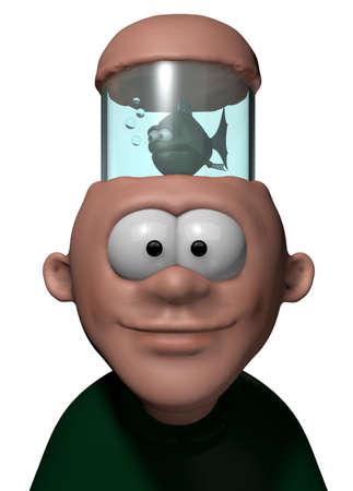 man with aquarium in his head - 3d cartoon illustration illustration
