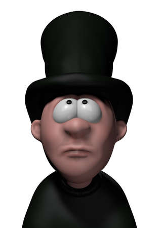 undertaker: cartoon undertaker with big black hat - 3d illustration