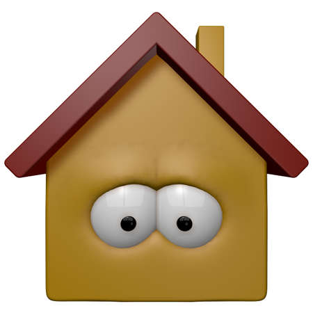 sad cartoon: cartoon house with eyes - 3d illustration