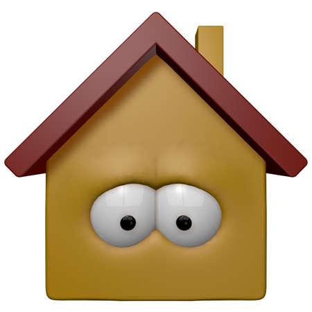 occhi tristi: casa di cartone animato con gli occhi - 3d illustrazione