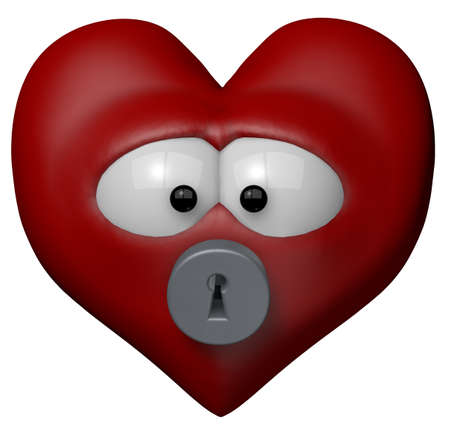 red heart with keyhole - 3d cartoon illustration illustration