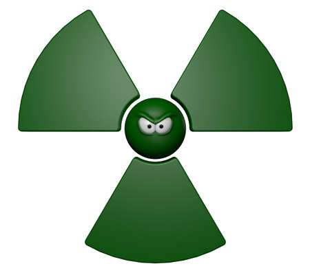 caution chemistry: nuclear symbol with grim comic face - 3d illustration Stock Photo