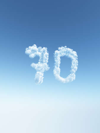 one year old: clouds makes the shape of number seventy - 70 - 3d illustration Stock Photo