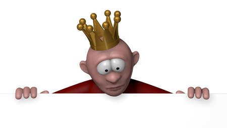 cartoon character with crown looks on blank white sign - 3d illustration illustration