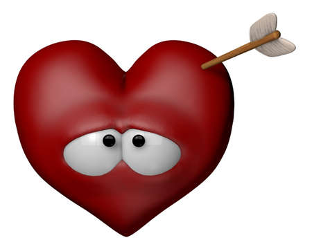 archer cartoon: cartoon heart with arrow - 3d illustration