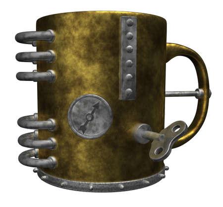 steampunk mug on white background - 3d illustration illustration