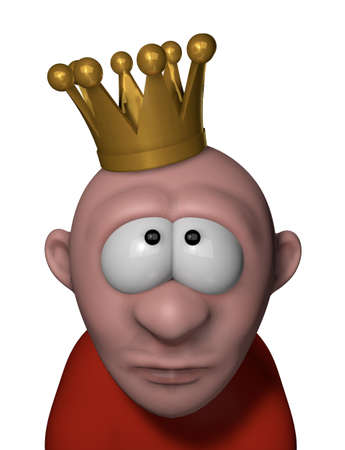 cartoon character with crown on his head - 3d illustration illustration