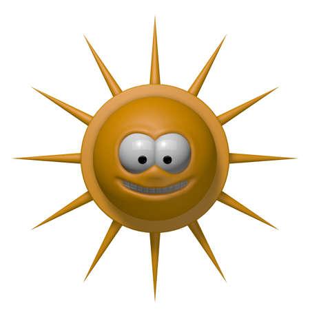 prickles: happy cartoon sun - 3d illustration