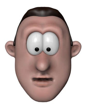 merrily: cartoon character man looks surprised - 3d illustration