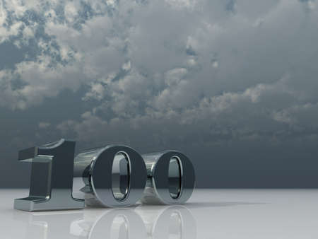 number one hundred under cloudy sky - 3d illustration illustration